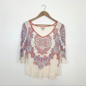 Lucky Brand 3/4 length tee with paisley pattern